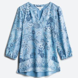 Market & Spruce Mixed Material Top, Blue, XL